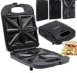 3in1 XXL Waffeleisen | Sandwichmaker | Elektrogrill | 180° Klappbar | Sandwichtoaster | Kontaktgrill | Paninigrill | Waffeltoaster | 1300 Watt | Thermostat | 3 Auswechselbare Platten |